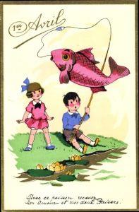 Künstler Ak 1er Avril, 1. April, Kinder angeln am Flussufer, Fisch, Seerosen
