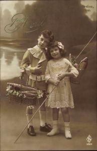Ak 1er Avril, 1. April, Mädchen und Junge mit Angel, Fische in Korb und Eimer