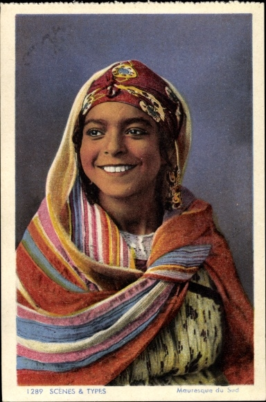 Ak Scenes et Types, Mauresque du Sud, Junge maurische Frau, Kopftuch