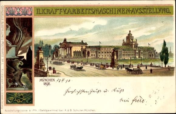 Künstler Litho Seitz, Rob., München, II. Kraft- und Arbeitsmaschinen Ausstellung 1898