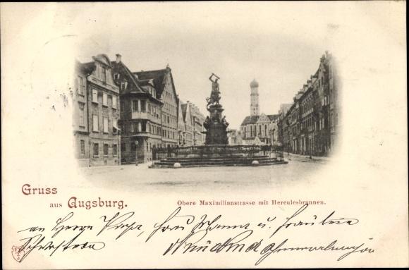 Ak Augsburg in Schwaben, Obere Maximilianstraße mit Herkulesbrunnen