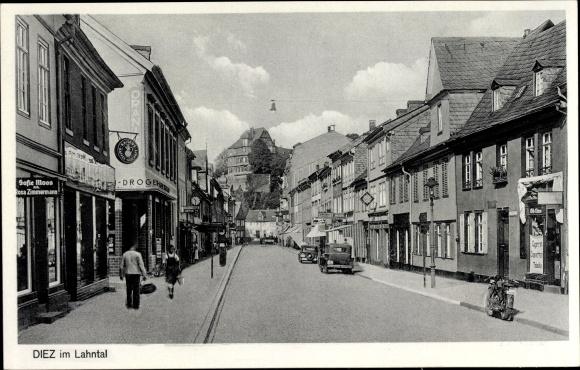 Ak Diez in Rheinland Pfalz, Straßenpartie, Drogerie