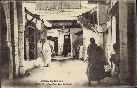 Ak Meknès Marokko, Carrefour dans les Souks