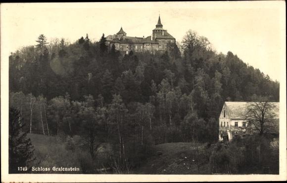 Ak Grabštejn Grafenstein Chotyně Ketten Reg. Reichenberg, Schloss, Außenansicht, Haus