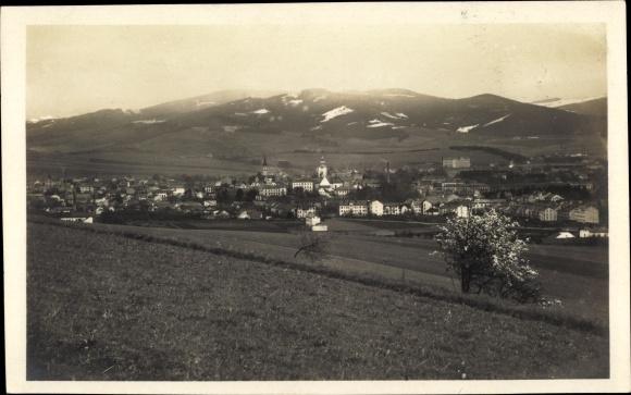 Ak Šumperk Mährisch Schönberg Reg. Olmütz, Panorama vom Ort