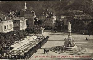 Ak Bozen Bolzano Südtirol, Walterplatz, Walter von der Vogelweide Denkmal