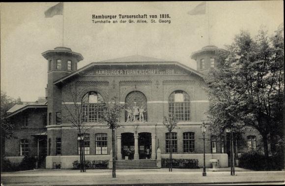 Ak Hamburg Mitte St. Georg, Hamburger Turnerschaft v. 1816, Außenansicht, Gr. Allee