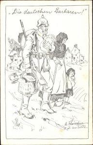 Künstler Ak Fleischer, A., Die deutschen Barbaren, deutscher Soldat hilft Mutter mit Kindern, I. WK