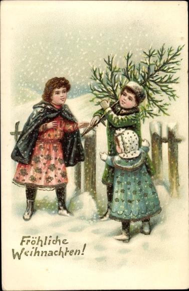 Präge Litho Frohe Weihnachten, Kinder mit Tannenbaum im Schnee