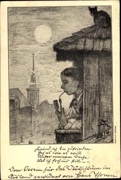 Künstler Ak Thoma, Hans, Mann mit Pfeife am Fenster, Kirchplatz bei Nacht, Katze