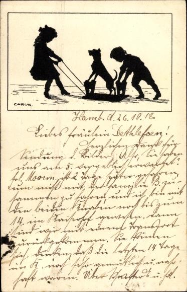 Künstler Scherenschnitt Ak Carus, Kinder ziehen Hund auf umgedrehter Bank