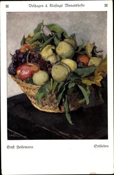 Künstler Ak Heilemann, Ernst, Stillleben, Früchte, Obst, Velhagen & Klasings Monatshefte