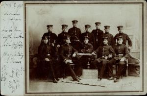 Foto Ak Deutsche Soldaten in Uniformen, Rekr. Korporalschaft 1. Komp. 134, 1899