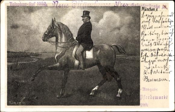 Künstler Ak Ritzer, Dressurreiter auf einem Pferd, Stempel Pferdemarkt