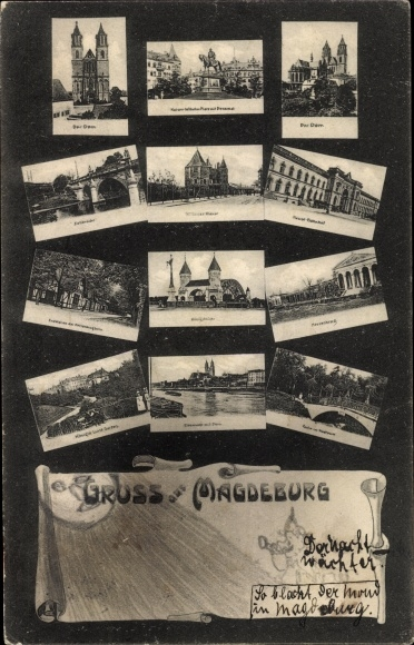 Ak Magdeburg an der Elbe, Dom, Denkmal, Brücke, Herrenkrug, Kirche, Elbpartie, Stadtpark, Garten