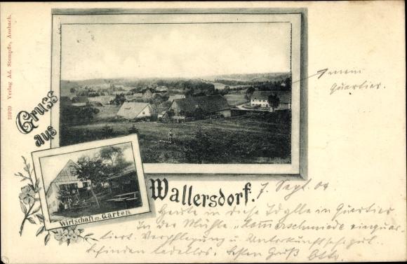 Passepartout Ak Wallersdorf Niederbayern, Totalansicht, Wirtschaft mit Garten