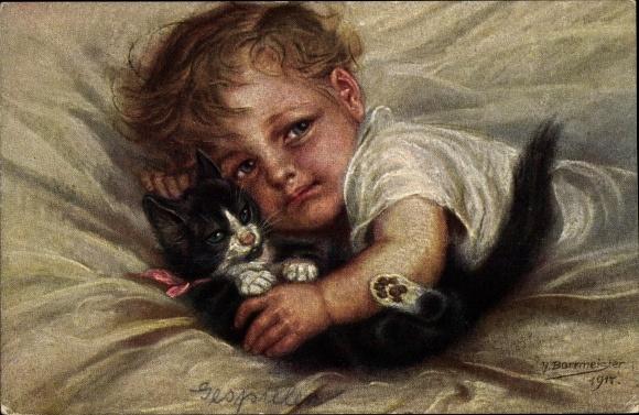 Künstler Ak Borrmeister, R., Gespielen, blondes Kleinkind mit schwarz weißer Katze