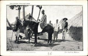 Ak Elfenbeinküste, Haute Cote d'Ivoire Occidental, Un chef du Mahou, Afrikaner, Pferd