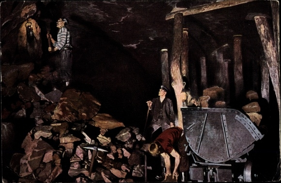 Künstler Ak Pohle, H. E., Der Werdegang der Eisenbahnschienen, Erzbergwerk, Bergleute