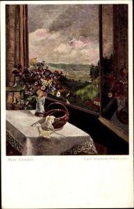 Künstler Ak Stegmann Bohrn, Orene, Mein Fenster, Blick durch ein Fenster, Strickarbeit