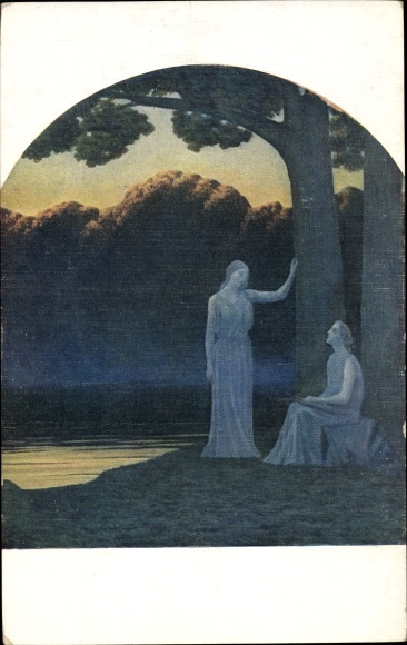 Künstler Ak Osbert, A., Golden twilight, zwei junge Frauen unter einem Baum