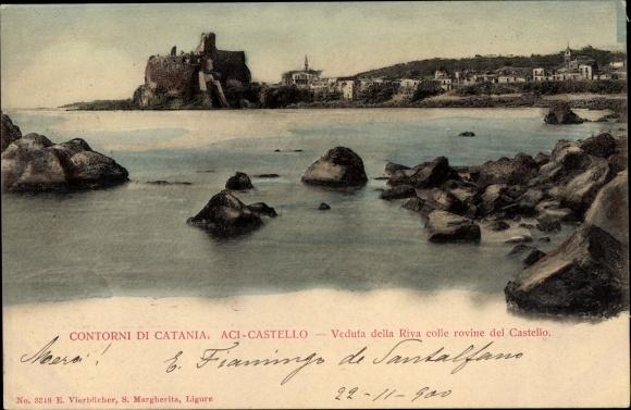 Ak Catania Sicilia, Aci Castello, Veduta della Riva colle rovine del Castello