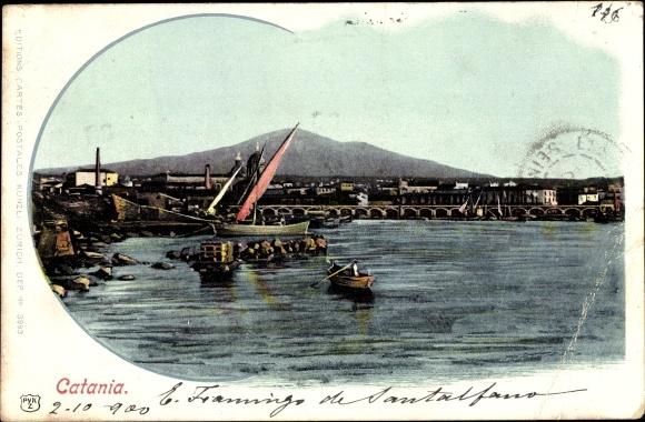 Ak Catania Sicilia, Veduta del Porto, Boote, Wasserpartie