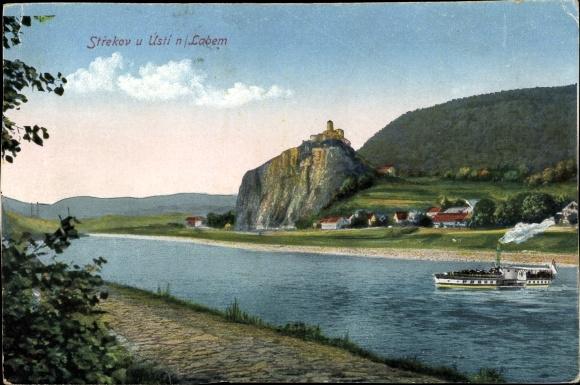 Ak Střekov Schreckenstein Ústí nad Labem Aussig Elbe Stadt Reg. Aussig, Uferpartie, Dampfer