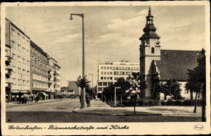 Ak Gdynia Gotenhafen Pommern, Bismarckstraße und Kirche