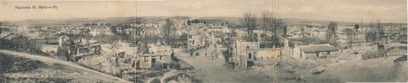 Klapp Ak Sainte Marie à Py Marne, Panorama, Kriegszerstörungen, I. WK