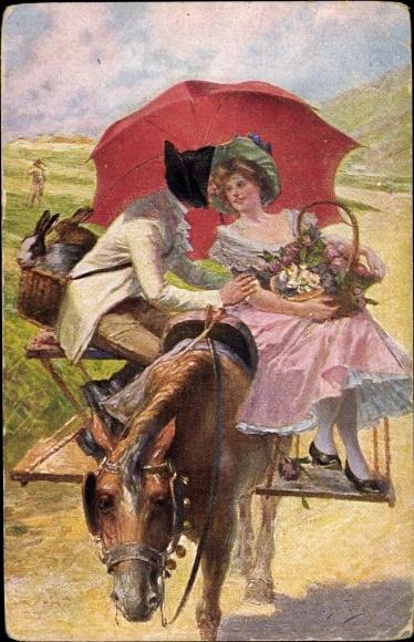 Künstler Ak Perez, Alonzo, Rückkehr vom Markt, Mann und Frau auf einer Kutsche