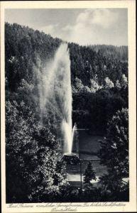 Ak Duszniki Zdrój Bad Reinerz Schlesien, Springbrunnen, höchste Leuchtfontäne Deutschlands
