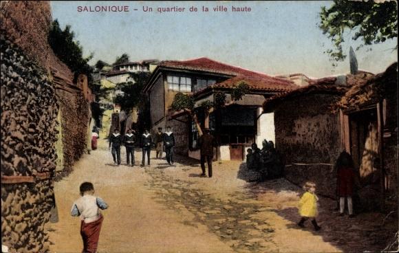 Ak Thessaloniki Griechenland, Un quartier de la ville haute