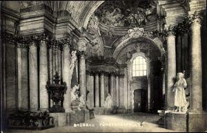 Ak Krzeszów Kamienna Góra Grüssau Schlesien, Fürstenkapelle, Innenansicht, Kuppelgemälde, Statuen