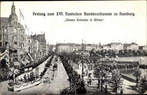 Ak Hamburg, Festzug zum XVI. Deutschen Bundesschießen, Unsere Kolonien in Afrika
