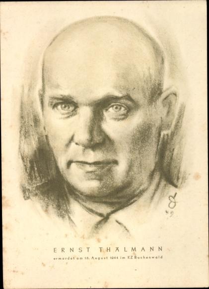 Künstler Ak Ernst Thälmann, Ermordet am 18. August 1944, Portrait, SED Landesvorstand Sachsen