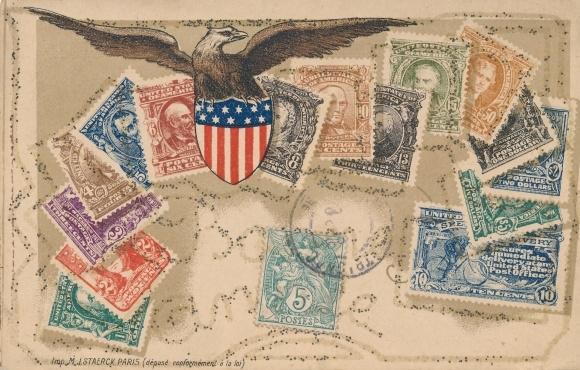 Glitzer Briefmarken Ak USA, United States Post Office, Stamps, Adler, Wappen