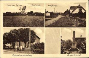 Ak Peissen in Schleswig Holstein, Dorfpartie, Dorfstraße, Kolonialwarenhandlung, Kriegerdenkmal