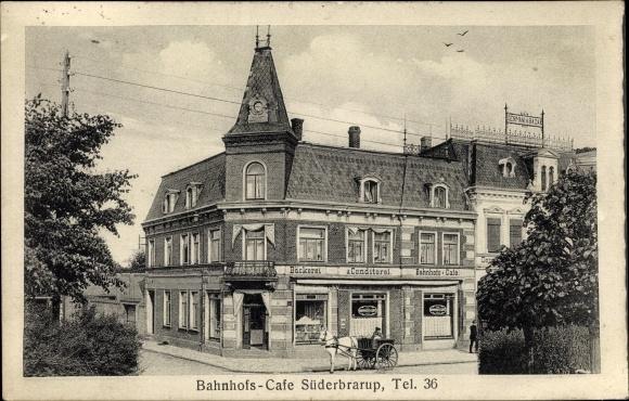 Ak Süderbrarup in Schleswig Holstein, Bahnhofscafé