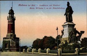 Ak Holtenau Kiel in Schleswig Holstein, Leuchtturm und Denkmal Kaiser Wilhelm I.
