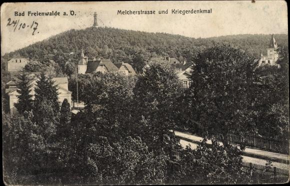 Ak Bad Freienwalde an der Oder, Melcherstraße und Kriegerdenkmal, Wald