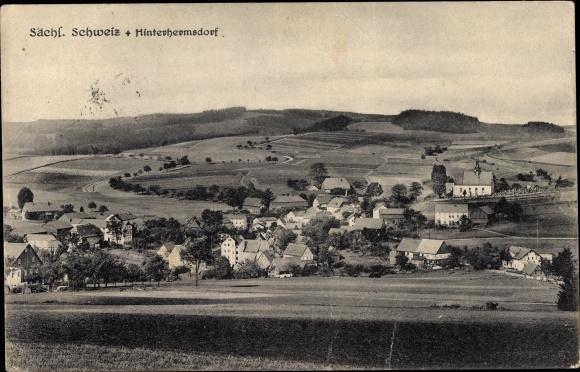 Ak Hinterhermsdorf Sebnitz in Sachsen, Panorama vom Ort, Hügellandschaft