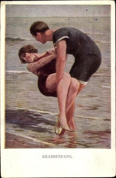 Künstler Ak Krabbenfang, Mann und Frau in Badeanzügen am Strand, Liebespaar