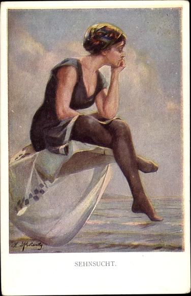 Künstler Ak Nachdenkliche Frau auf einem Sprungbrett über dem Wasser, Munk 1124