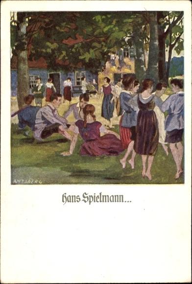 Künstler Ak Amtsberg, Otto, Hans Spielmann, Frauen und Männer auf einer Wiese