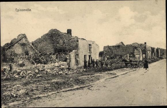 Ak Épinonville Lothringen Meuse, Kriegszerstörungen, I. WK