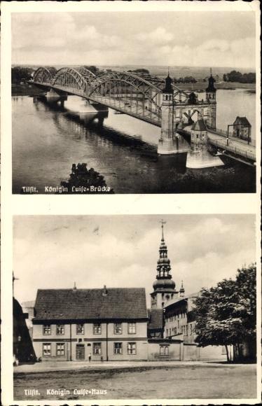 Ak Sowjetsk Tilsit Ostpreußen, Königin Luise Brücke, Königin Luise Haus