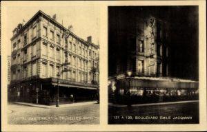 Ak Bruxelles Brüssel, Hôtel Canterbury, Boulevard Émile Jacqmain, éclairage de nuit
