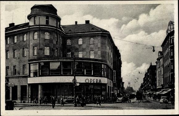 Ak Ostrava Ostrau Reg. Mährisch Schlesien, Hauptstraße, Opera