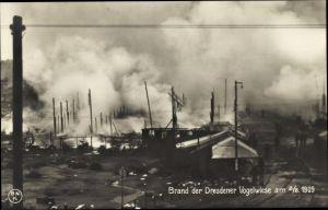 Ak Dresden, Vogelwiese am 2.8.1909, Volksfest, Brandkatastrophe